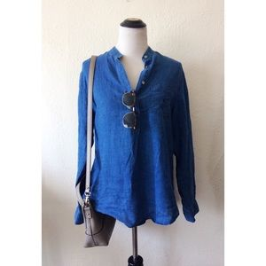 LAUREN RL blue 1/2 button down long sleeve tunic